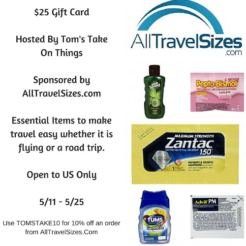 $25 AllTravelSizes.com Gift Card Giveaway - Travel With Ease Thanks for being part of this at Tom's Take On Things Ends 5/25