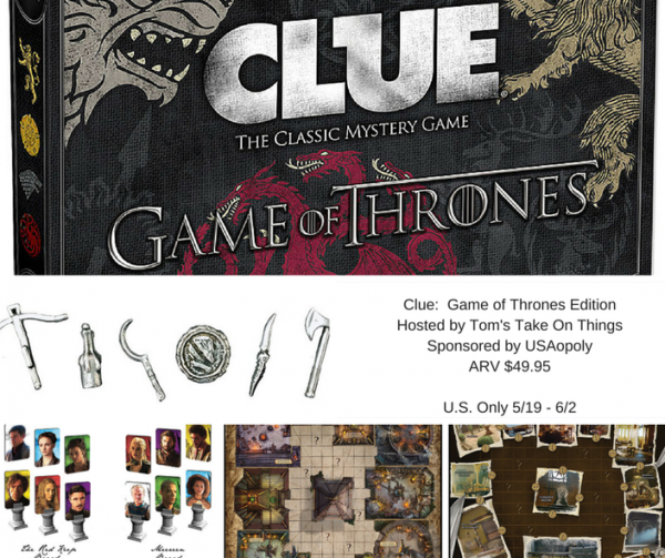 Clue: Game of Thrones Edition Board Game Giveaway Ends 6/2 Good Luck from Tom's Take On Things